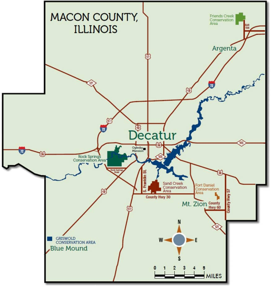 Decatur Illinois Map.Conservation Areas Map Macon County Conservation District