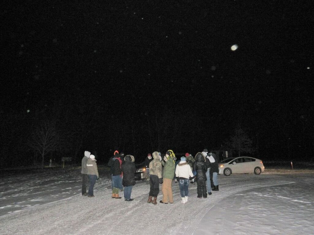 group of people standing in snow looking up at the moon