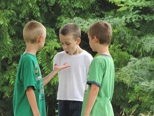 Surprised Kids at Nature Camp