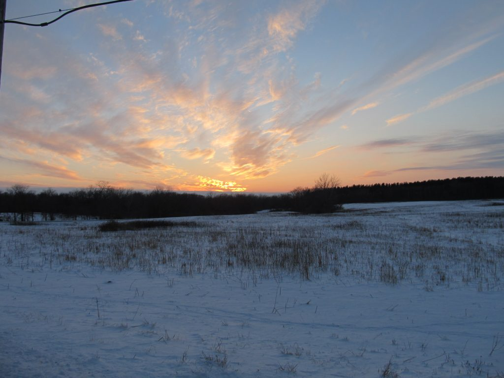 winter sunset with snow